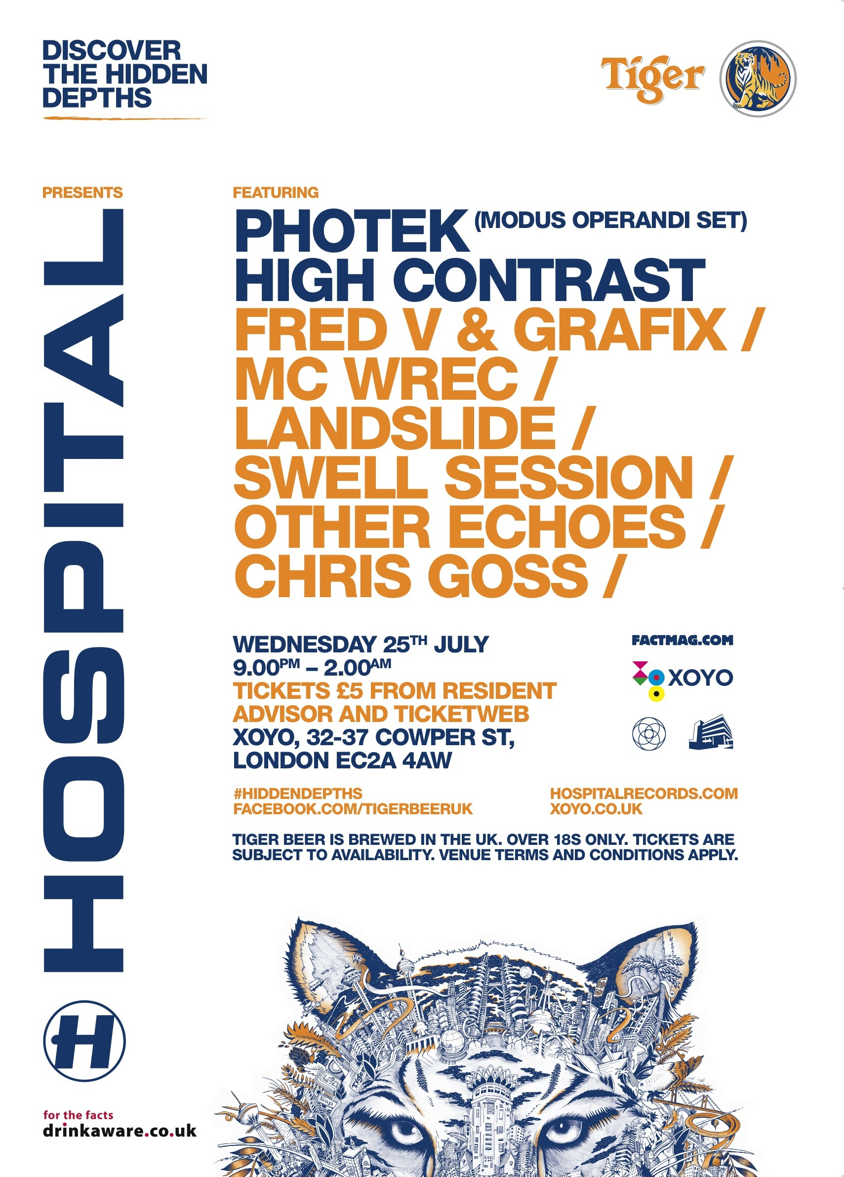 Tiger presents the the Hidden Depths of Hospital with Photek, High Contrast and more