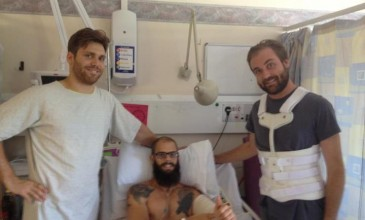 Baroness sends a thumbs-up from the hospital after bus crash