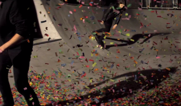 Jamie xx and Romy Madley Croft skate through confetti in 'Loud Places' video
