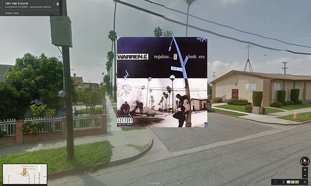 Iconic hip hop albums located in Google Street View