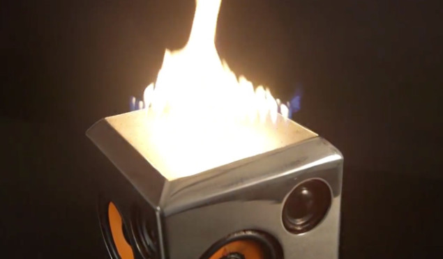 The Sound Torch is a speaker that turns music into fire