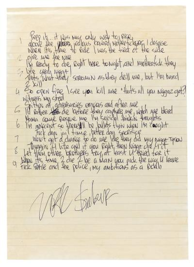 Unreleased 2Pac Track 'Mr. MiddleFinga' Handwritten Lyrics ...
