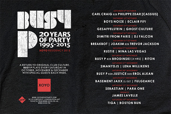 XOYO reveals line-up for Busy P residency