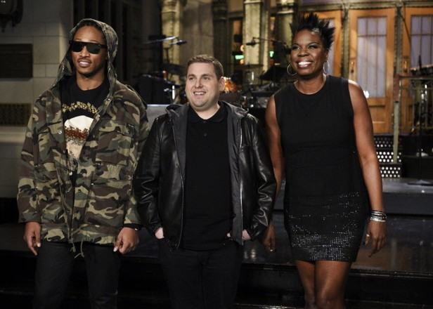 """SATURDAY NIGHT LIVE -- """"Jonah Hill"""" Episode 1697 -- Pictured: (l-r) Musical guest Future, host Jonah Hill, and Leslie Jones on March 3, 2016 -- (Photo by: Dana Edelson/NBC)"""