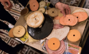 Matthew Herbert played an edible DJ set with records made out of cheese, eggplant and ham