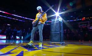 Flea plays bass guitar national anthem at basketball superstar Kobe Bryant's final game