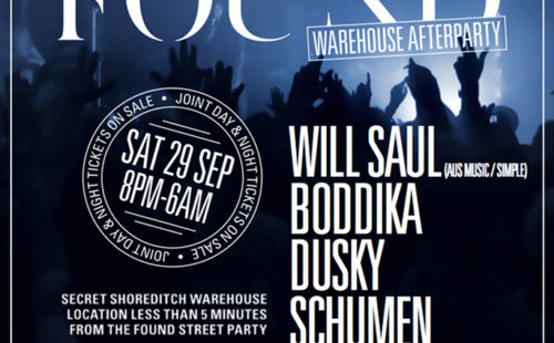 Will Saul announced as secret headliner of FOUND's Street Warehouse after party.
