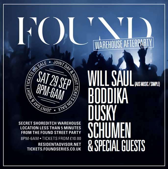 Will Saul, Boddika and Dusky to play FOUND Street Warehouse After Part