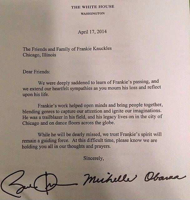 read barack and michelle obamas letter to frankie knuckles friends  frankie knuckles letter obama