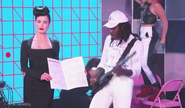 Watch Blood Orange perform live on Kimmel with big choreography and Dita Von Teese