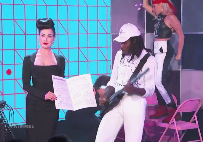 Watch Blood Orange perform live on Kimmel with big choreography and Dita Von Teese