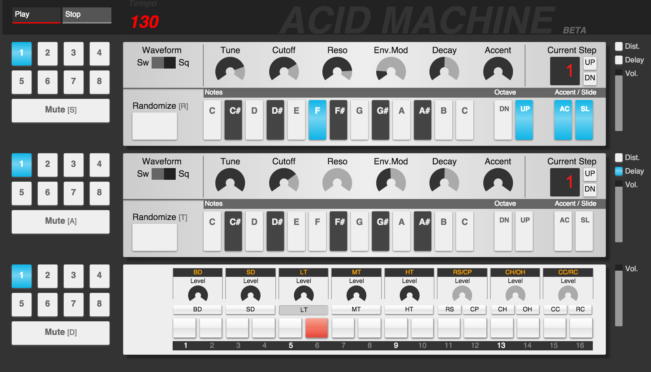 Acid Machine lets you make acid house in your browser