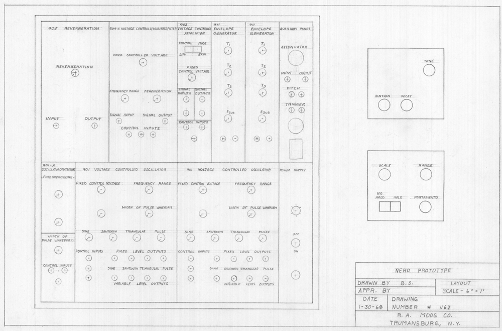 Vintage analog circuitry revealed by Moog's intricate hand-drawn synth schematics