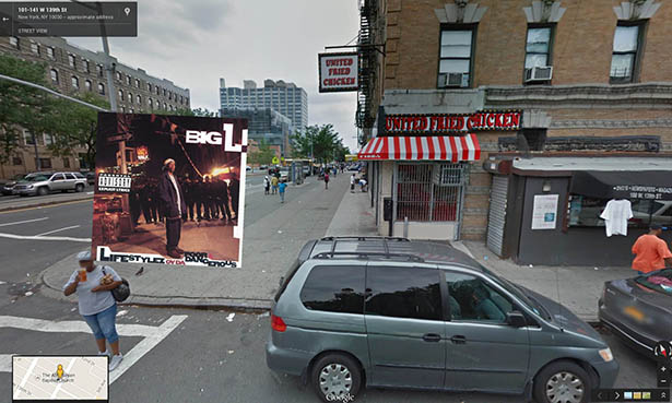 Iconic hip hop album covers located in Google Street View