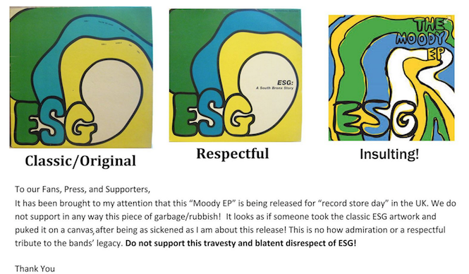 "ESG ""sickened' by artwork of Record Store Day release on Fire Records"