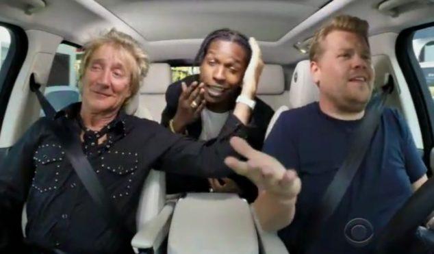 A$AP Rocky and Rod Stewart sang karaoke in James Corden's car