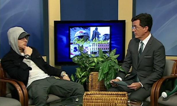 Watch Stephen Colbert interview Eminem on Michigan public access television