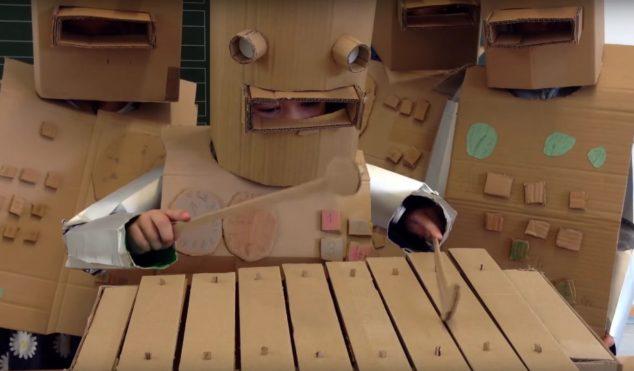 You need to watch these German schoolkids playing Kraftwerk's 'Die Roboter'