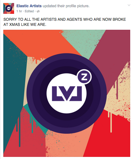 LVLZ hijack Elastic Artists Facebook page
