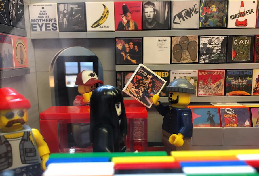 Someone made a record store out of Legos and we want to go