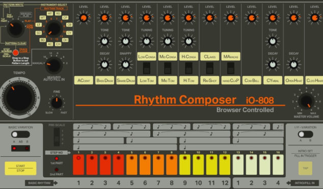 Play an accurate replica of the TR-808 drum machine in your browser