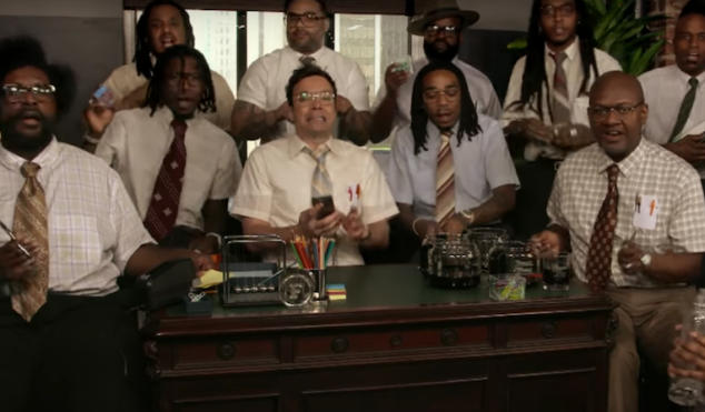 Watch Migos, The Roots and Jimmy Fallon perform 'Bad & Boujee' using office supplies
