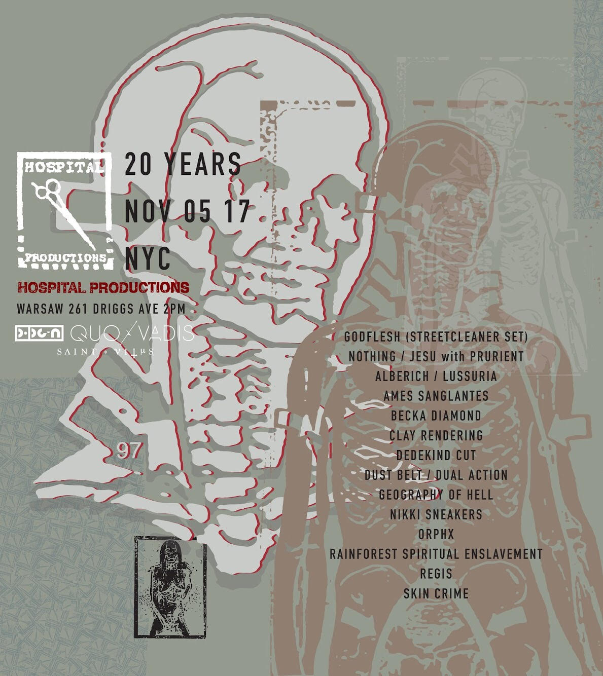 Hospital Records announce 20th anniversary show featuring Godflesh, Prurient, Regis, more