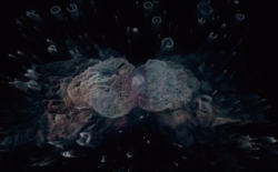 Screenshot from CAO video showing abstract shapes in dark landscape